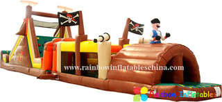 RB5055(15.8x3x4.57m) Inflatable Long Obstacle Course/Inflatable Pirate Theme Obstacle with Slide