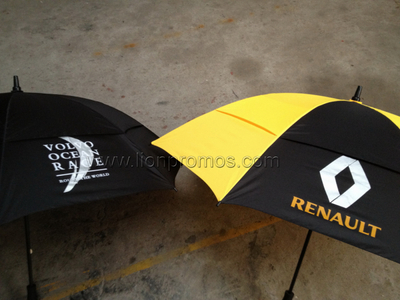 Car Sales Promotional Gift Fiberglass Frame Two Layers Wind Proof Golf Umbrella