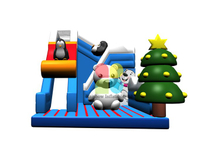 RB06112(8x6x6.5m)Inflatable Happy penguin and polar bear dry slide for sale