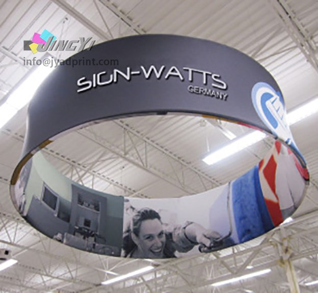 Round Tension Hanging Siang, Spandex Fabric Poster Trade Show Booth Exhibit Display, Circle Hanging Banner Signs For Exhibition