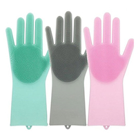 Amazon Hot Sale Silicone Scrubber Gloves Magic Silicone Cleaning Gloves for Dish Washing Mitts Heat Resistant Silicone Cleaning Gloves Brush Scrubber, Silicone Dishwashing Gloves