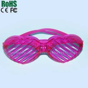 led flashing heart shutter eyeglasses