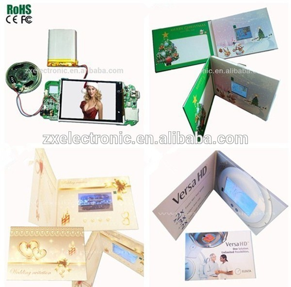 2.4/4.3/5/7inch tft lcd video player brochure/video greeting card
