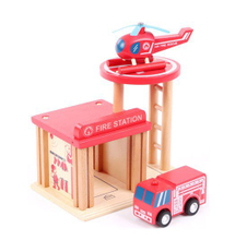 wooden fire station for kids