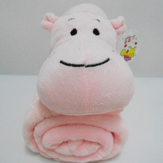 "11 "" Cute Pink Hippo Toy Stuffed Animal Plush Pillow Blanket"