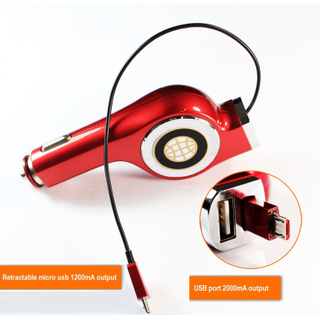 2100mA usb output with Retractable micro usb 1200mA car charger