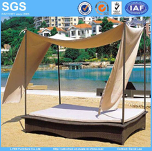 Outdoor Rattan Sofa Bed with Canopy for Garden Hotel Furniture