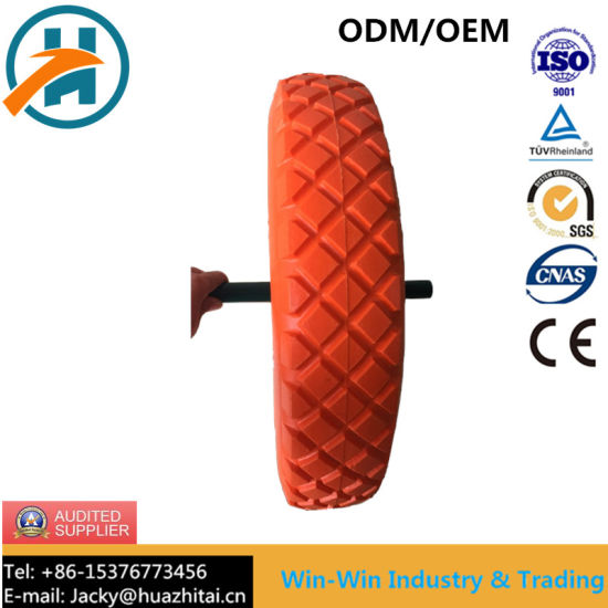 Solid Flat Free PU Foam Wheel with Colour PU Part (480/400-8)