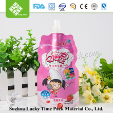 Stand Up Round Bottom Milk Packaging Plastic Bag with Suction