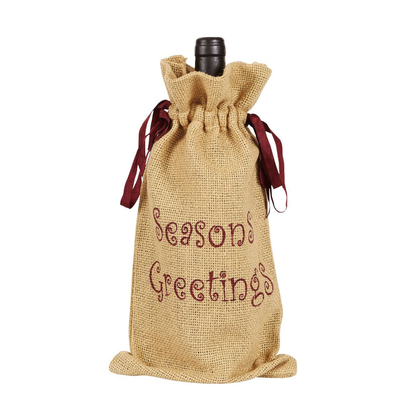 Original hessian drawstring wine bag