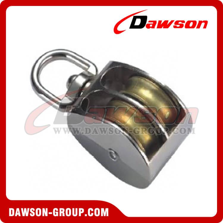 Cast Zinc Block : Die cast zinc double wheel pulley with swivel eye single