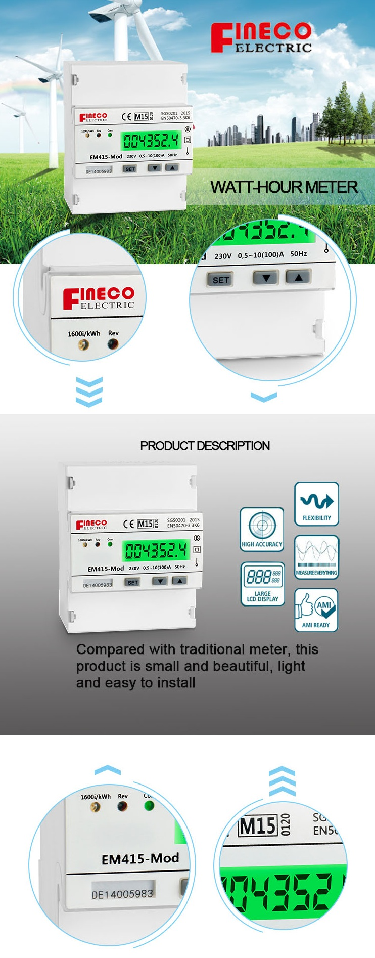 Em415 Mod 10100a Mid Approved Lcd Display Single Phase Din Rail Kwh Meter Wiring Diagram Mounted