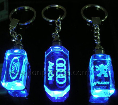Auto Sales Promotional Gift Car Logo Inner Laser Engraved Crystal LED Key Chain