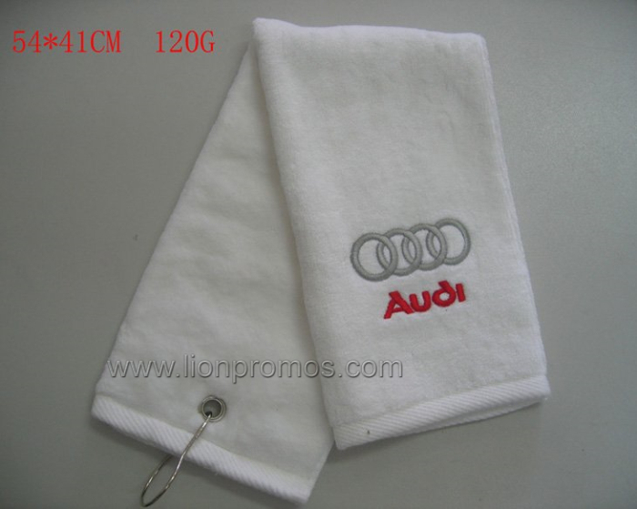 Car Logo Embroidery Promotional Cotton Velours Golf Towel