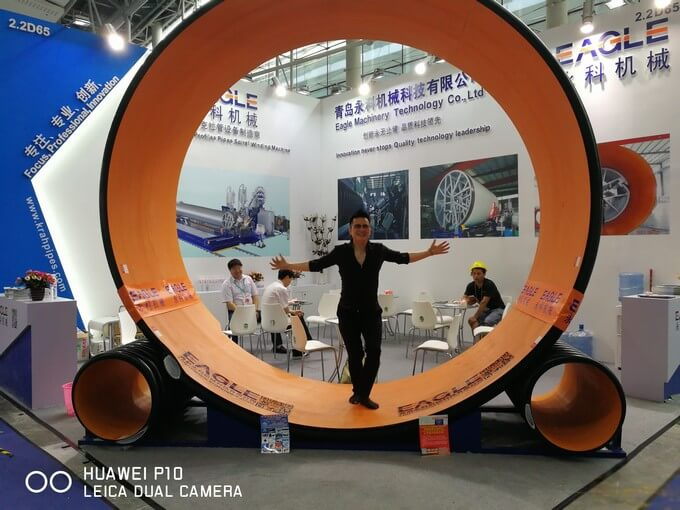 Eagle Machinery Co show the biggest profiles pipe in Chinaplas 2017.jpg