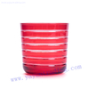 hand cut red sprayed color round bottom glass candle jar
