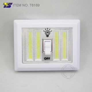 Battery operated wall mounted cordless 4 COB LED switch night light