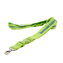 Custom Green Polyester Lanyards with Green Plastic Buckle And Metal Hook for Id Pouch