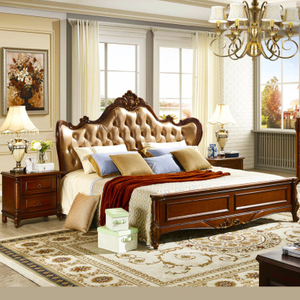 Wood Bedroom Furniture Set with Wooden Bed and Wardrobe