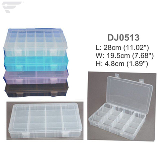 DJ0513 Large Plastic Box 16 Dividers Clear Box