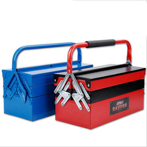 Portable Folding Iron Toolbox with Multi-Trays