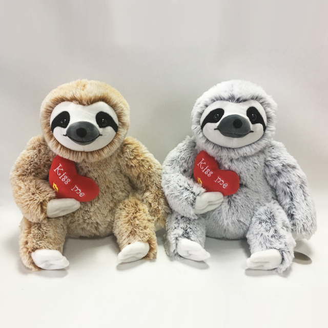 30cm Three Toed Sloth Plush with Heart
