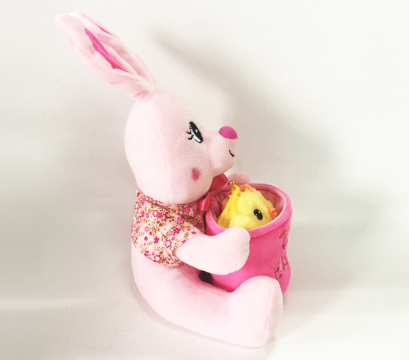 Easter Soft Plush Stuffed Pink Rabbit with Chicken Baby Toy