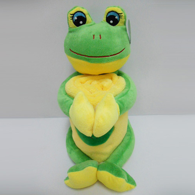 "11 "" Cute Frog Toy Stuffed Animal Plush Pillow Blanket"