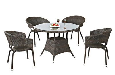 PE Rattan Dining Set Round Table Round Stacking Chair Garden Furniture