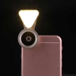 LED 3 in 1 Lens Selfie Stick Light with 0.6X Wide Angle+10X Macro Lens