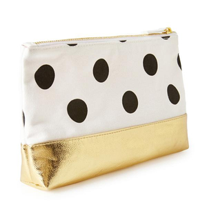 Personalized Good Quality Polka Dot Makeup Bag Gold