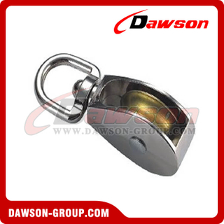 Die Cast Zinc Single Wheel Pulley con Swivel Eye