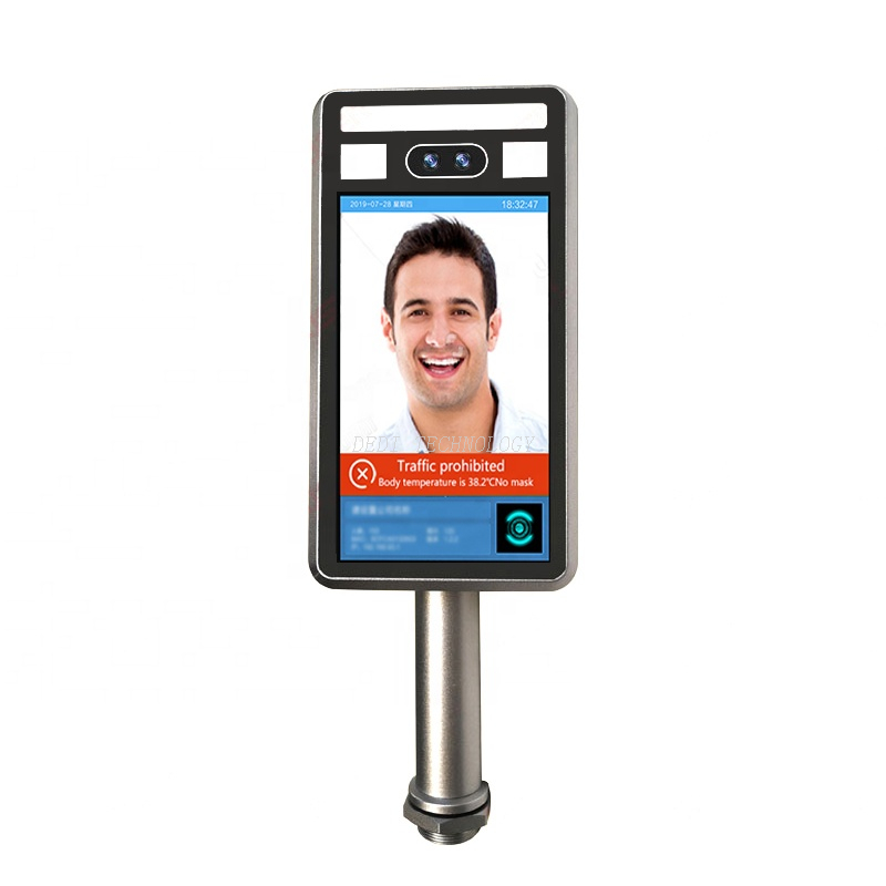 Face recognition thermometer signage digital video player lcd advertising display with automatic alarm of abnormal