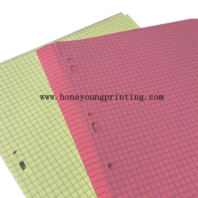 A4 colored feuillets mobiles seyes grands carreaux and 5*5 petits carreaux loose leaf with perforation 50 feuillets