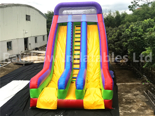 Commercial Amusement Park Use Inflatable Rainbow Color Dry Slide for Kids