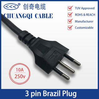 3 Pin Brazil Plug Brazilian Inmetro Power Cord with Cable TUV Approved