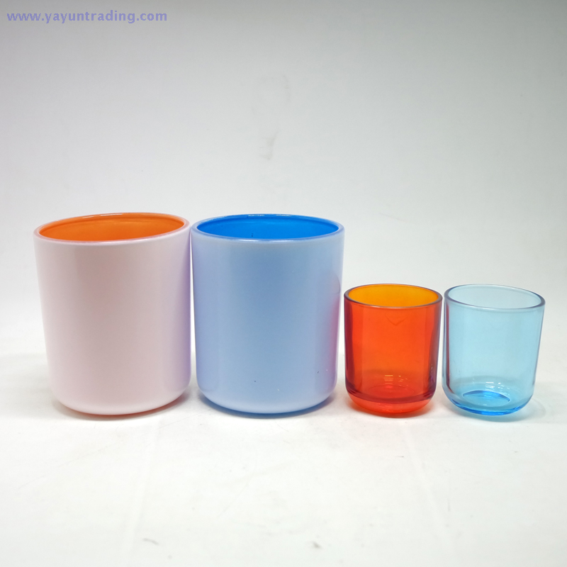 colorful glass candle jar