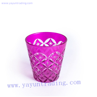 hand made popular pink horn shape glass candle holder