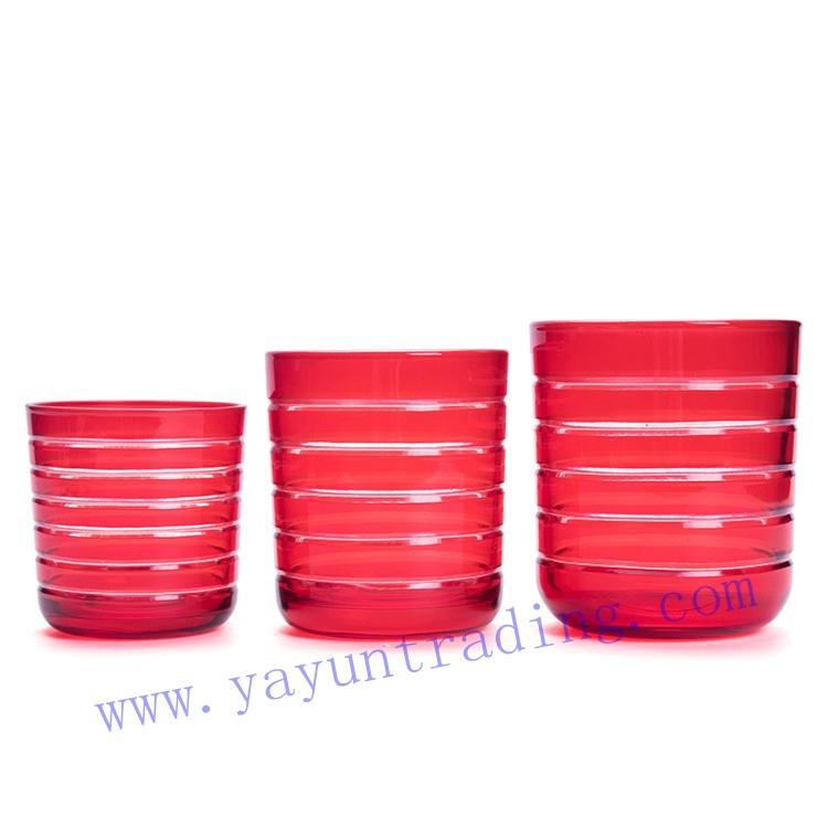 Yayun hand cut red handmade sprayed glass candle jar