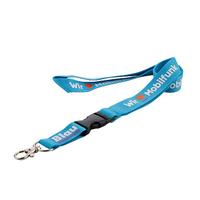 Custom blue lanyards with black plastic buckle connect with short extension and metal hook for badge holder