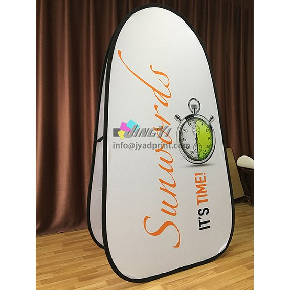 Printed Spring Pop up A-Frame Vertical Banner Display, Outdoor POP Out A Frame Advertising Banner with Double Side Printed