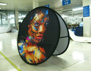 Wholesale Portable Folding Circle A Frame Outdoor Promotion Round Display Banner, Outdoor Spring Steel Popup Circle/Round Advertising Stand