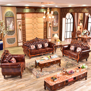 929S Leather Sofa with Wood Sofa Frame for Home Furniture