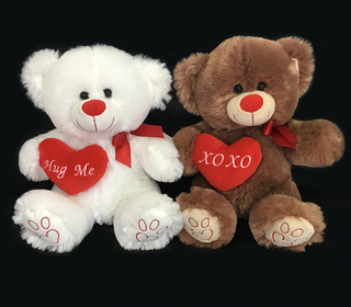 Couple Teddy Bears with Hearts for Valentines Gifts