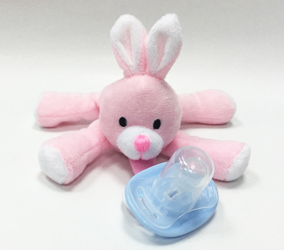 Pacifier Pink Rabbit Embroider Your Logo on Pacifier Plush Toy
