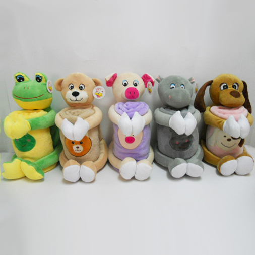 Plush Stuffed Animal Shaped Pillow Blanket