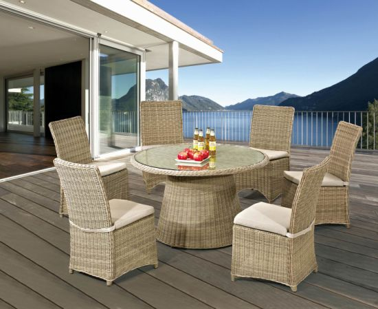 Rattan Furniture Outdoor Dining Round Table and Chair Set