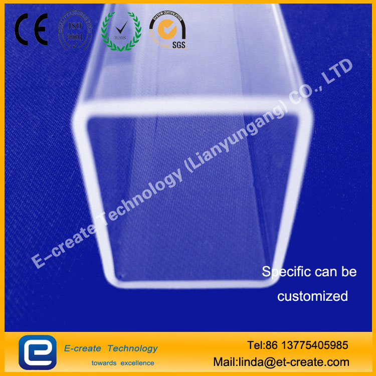 Rectangular Tubing Clear Fused Quartz