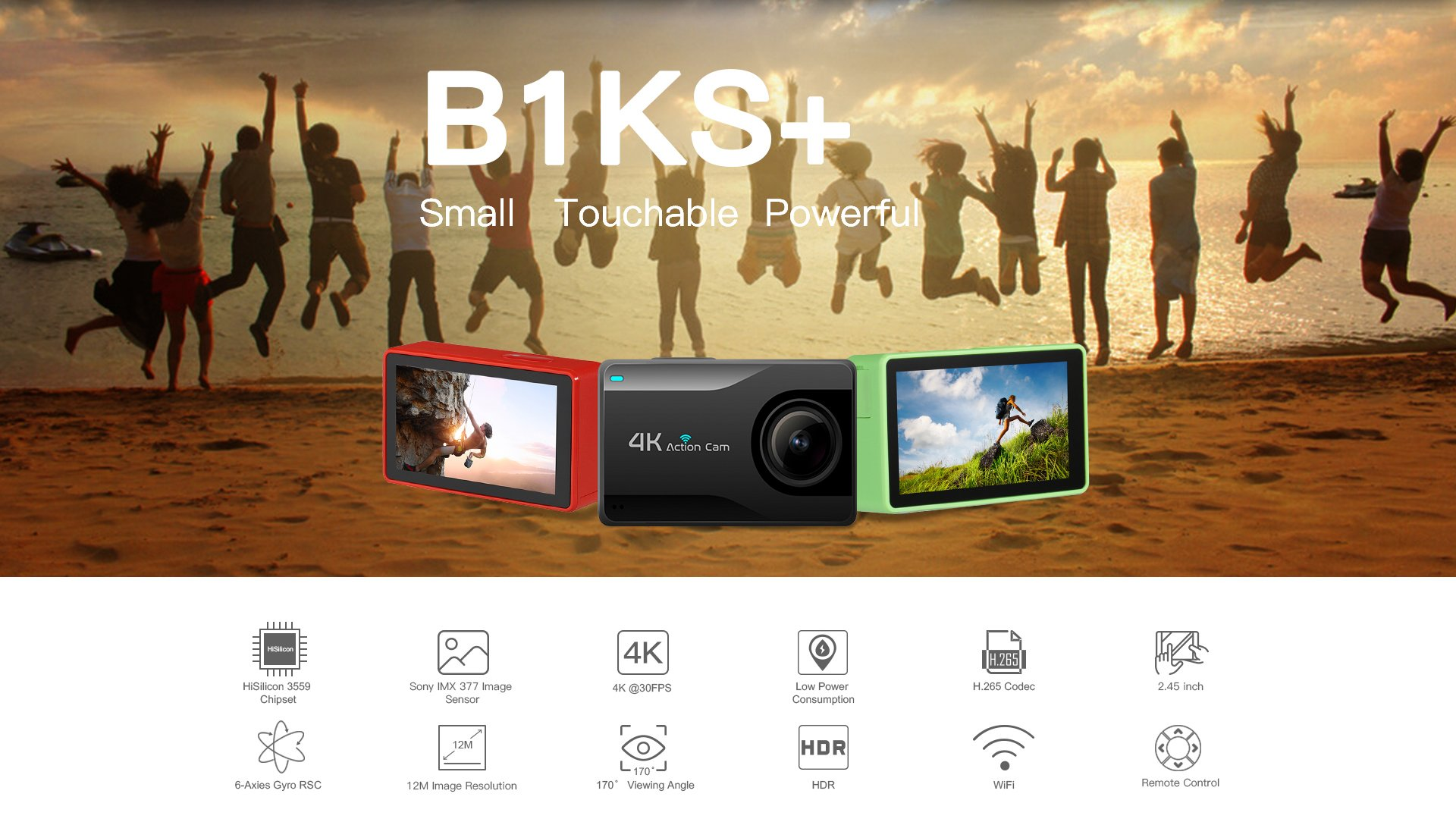 B1KS+ HiSilicion 4K Action Camera Small Touchable Powerful