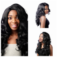 Sexy Women's Long Wavy Curly Black Synthetic Hair Cosplay Party Full Wigs + free wig cap